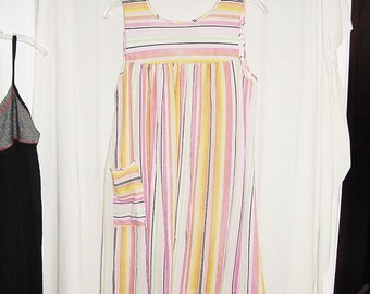 Vintage 60s Mod Pink Green Yellow Stripe House Dress M As Is