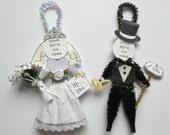 your pet's pix BRIDE & GROOM custom4u vintage style Wedding chenille ORNAMENTS personalized pet photo ornaments set of 2