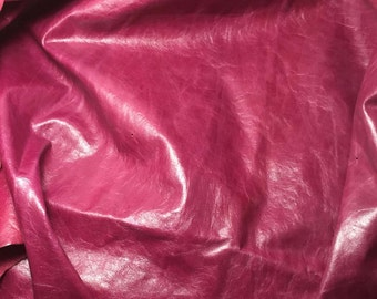 RASPBERRY PINK Cow Hide Leather Piece #1
