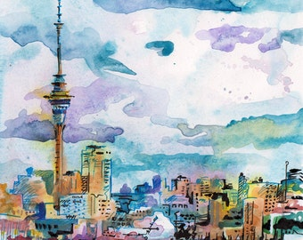 Sky Tower in Auckland New Zealand - Watercolor and Ink Painting by Jen Tracy - City Skyline Landscape Art