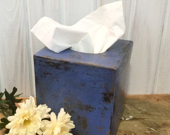 Tissue Box ~ Keenex Holder ~ Square Tissue Box Holder ~ Paper Mache ~ Distressed ~ Cottage ~ Primitive ~ bedroom ~ dorm room ~ bathroom