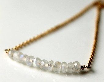 On SALE / CIJ Sale / Moonstone Gold Necklace / Rainbow Moonstone Gemstone Necklace / Vermeil Gold Chain / Minamalist Layering Necklace / Gem