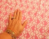 lycra fabric remnant, pink hearts