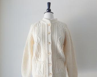 Irish cardigan sweater   vintage 80s cable knit   cream 1980s wool sweater