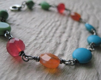 Confetti II Bracelet- Sterling Sliver, Oxidized, Colorful, Gemstone, Wire Wrapped, Turquoise, Chaledony, Agate