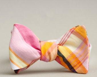 bubblegum, fuchsia, & apricot bow tie // unisex self tie bow tie // cotton freestyle bow tie