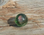 Glass Marble with Green Color and Pink Sparkly