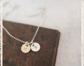 Gold and Silver Initial Necklace, Personalized Letter Necklace, Hand Stamped Custom Letter Initial, Round Disc Necklace, Bridesmaid Gift