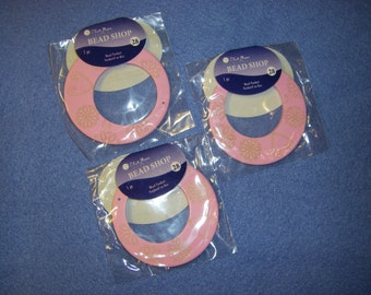 Three Pink Mandala Go-Go Pendants by Blue Moon Beads, new in package NIP