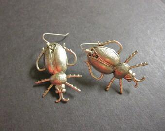 Beetle Earrings, Silver Scarab, Unique Bugs, Insect Earrings, Gothic Jewelry, Bug Earrings, Geekery, Victorian Beetles, Steampunk, Woodland