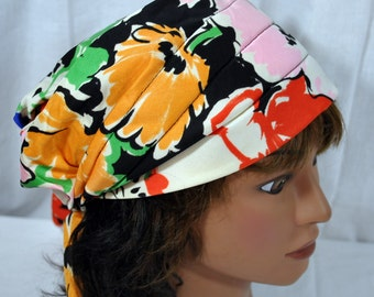 Womens Vintage Mod Turban Hat 1960s Retro Flowered Paisley Comfy and Lightweight
