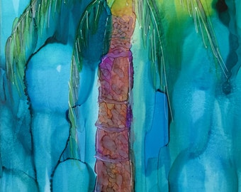 Palms In The Wind Original 7x5 Alcohol Ink Painting on Yupo