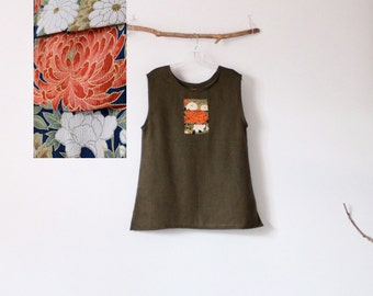 olive linen top with floral kimono silk motif size M ready to wear