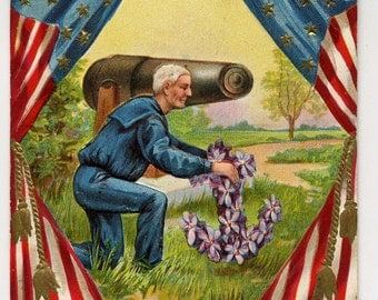 Decoration Day Postcard - Patriotic - Memorial Day Postcard - 1914