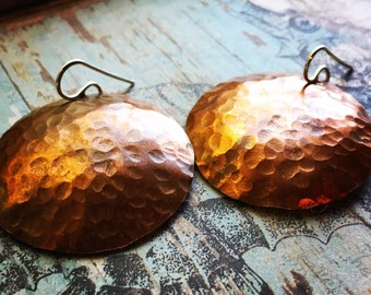 Copper Hoop Disc Earrings - Hammered Texture - Jennifer Cervelli Jewelry - Full Moon Hoops