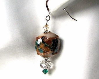 Brown and Emerald Torch Beaded Earrings, Crystal Rondelles,  Sterling Silver .925 EarWires, Dangle Earrings,  Handcrafted,  Item 1161