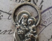 HUGE SALE Mid Century Modern Vintage Italian Saint Joseph Religious Medal, Protector Of Fathers, Patron Of Real Estate Agents, Carpenters, M
