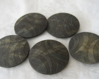 Set of 5 Large ANTIQUE Texture Composition Rubber BUTTONS