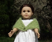 18 inch knitted Prarie Style Doll Shawl - Lime Green - Antique Pearl Button - Fuzzy Soft Bulky Yarn