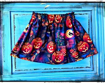 Girls Pumpkin skirt halloween skirt 2t 3t 4t 4/5 6/6x 7/8 10/12 14/16 Ready to Ship
