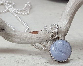 Blue Lace Agate Necklace Sterling Silver Pendant Chain