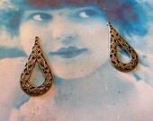 Filigree Teardrop Shaped Brass Ox Plated Earring Drops 479BOX x2