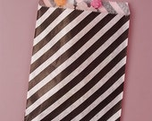 Valentines Day Sale 25 Pack 5 X 7 Inch Color and White Striped Flat Paper Food Safe Bags
