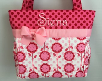 Daisies and Dots   FLORAL   .. Diaper Bag .. Bottle Pockets .. Monogrammed Free