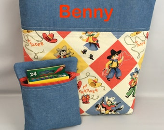 BOY's  Tote and Crayon Pouch SET ... COWBOYS  ... Child Size  Bag  ...  Monogrammed  FReE .. Ring Bearer