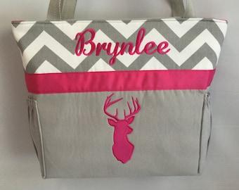 Personalized   ...  Hot PINK  DEER  Silhouette  .. DIAPER  Bag .. Applique   ... Bottle Pockets