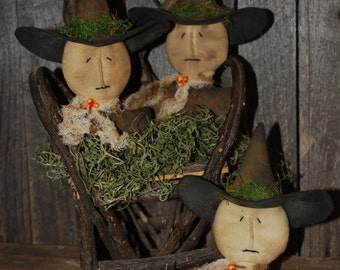 SET OF THREE Primitive Rustic Witch Tucks Halloween Ornies Grungy Bowl Fillers