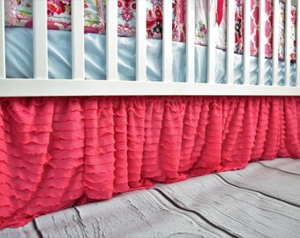 Hot Pink Ruffle Crib Skirt - Baby Girl Nursery - Pink Crib Skirt - Girl Crib Skirt - Crib Dust Ruffle- Long Crib Skirt Girl Bedding Bedskirt