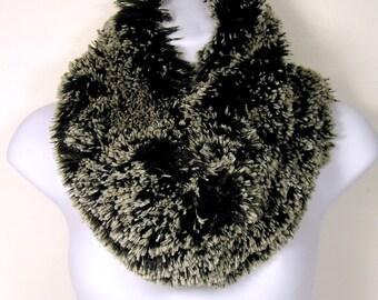 Faux Fur Cowl Faux Fur Scarves Black and White Faux Fur Circle Scarves Black and White Faux Fur Scarves Fur Cowls Fake Fur Womens Scarves