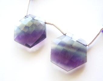 Purple Multi Fluorite Faceted Hexagons - Pair - 17.5x20mm