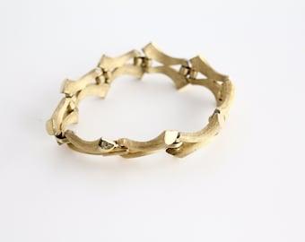 Vintage 1960s Crown Trifari Bracelet | Crown Trifari Gold Linked Bracelet