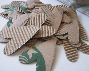 I Heart Coffee - Corrugated Cardboard Hearts, Upcycled, Recycled, Card Making, Planners, Snail Mail, PL, Project Life, Art Journaling
