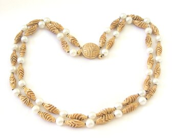 Vintage Goldtone Beads and Pearls Double Strand Choker