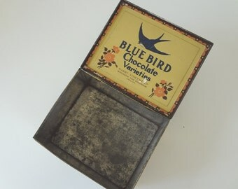 Vintage Tin Container Bluebird Toffee Chocolate Large English Hinged Lidded - EnglishPreserves