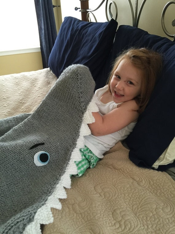 Knitting Pattern For A Shark Blanket : Shark Attack Lap Blanket Knitting Pattern PDF 420