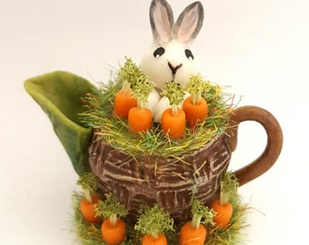 1:12 scale bunny in a carrot patch teapot.