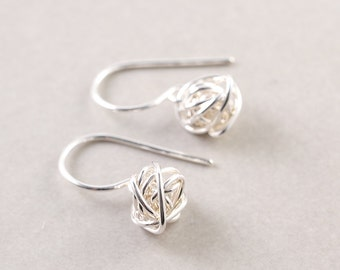 Silver Knot Earrings, Sterling Earrings, Knotted Jewelry, Tie The Knot