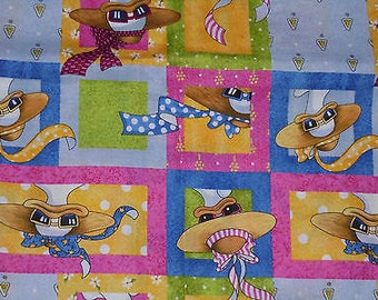 Vintage out of print -Daisy Kingdom -- Fabric Mitzi Duck --cotton 45in x 45in w