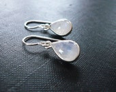 Teardrop Moonstone Earrings in Sterling Silver - Rainbow Moonstone and Silver Drop Teardrop Earrings, Moonstone Earrings