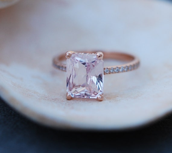 Engagement Ring Rose gold engagement ring Peach Sapphire ring Blake Lively ring  emerald cut 14k rose gold diamond ring 3.36ct sapphire ring