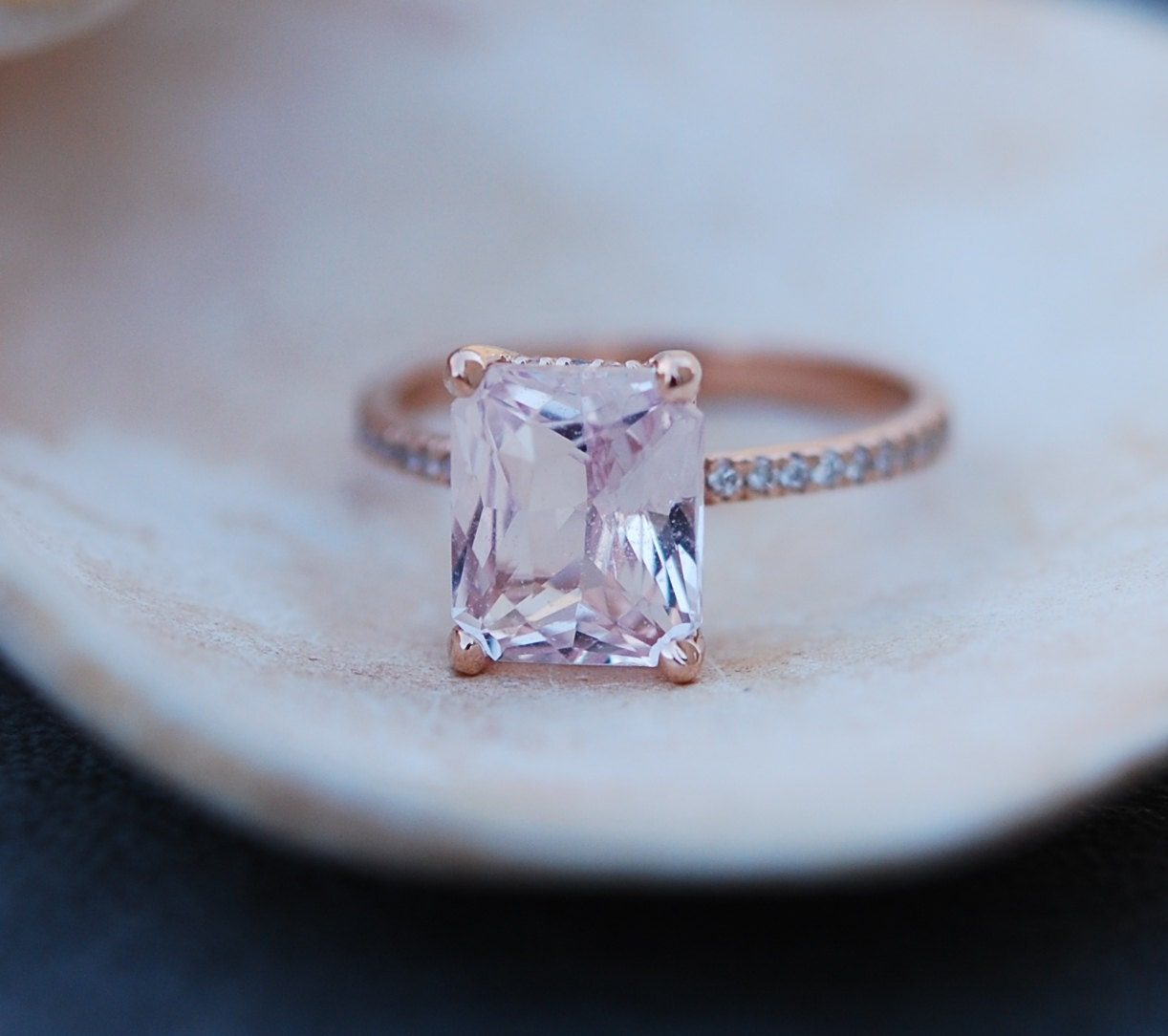 Engagement Ring Rose gold engagement ring Peach Sapphire ring