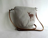 LINEN Cross Body Bag // LINEN Sling Bag // Daybag // Small Casual Purse // Fawn // Natural
