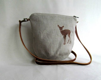 LINEN Cross Body Bag // LINEN Sling Bag // Daybag // Small Casual Purse // Fawn // Natural