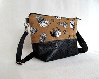 ADELE Day Bag // Cross Body Bag // Hip Bag // Small Zippered Purse // Brown Black & White