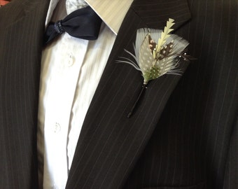 Wedding Feather Boutonniere Lapel Pin for the Dapper Gent Groom Groomsmen Engagement