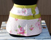 Handmade Vendor Apron  Utility Craft Farmers Market Pink Floral Retro Teacher Apron